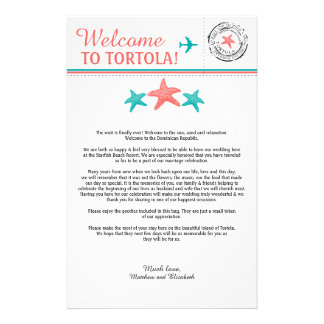 Wedding Welcome Letter for Riviera Maya Mexico 14 Cm X 21.5 Cm Flyer