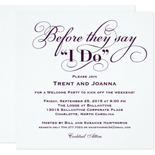 Wedding welcome party invitation wedding vows zazzle wedding welcome party invitation wedding vows junglespirit Choice Image