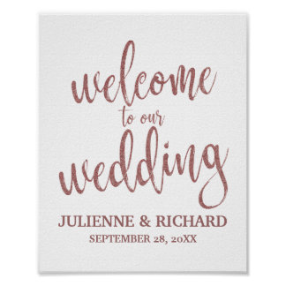 Wedding Welcome Rose Gold Glitter 8x10 Sign