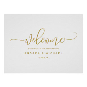 75744c9b8 Wedding Welcome Sign - Bounce Calligraphy Gold