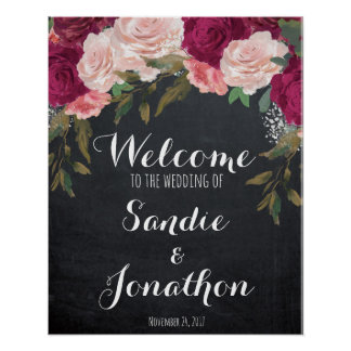Wedding Welcome sign chalkboard 16x20 burgundy Poster