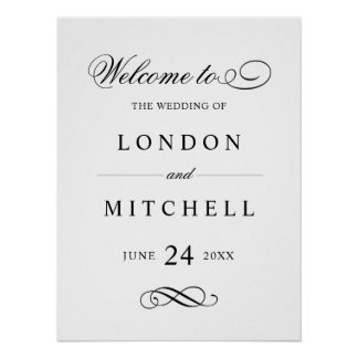 Wedding Welcome Sign | Classic Black Elegance Poster