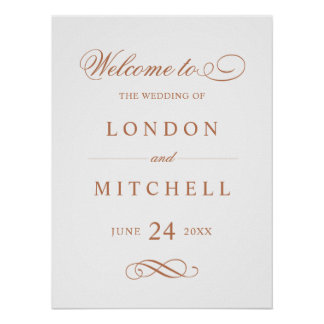 Wedding Welcome Sign | Copper Classic Elegance