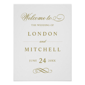 Wedding Welcome Sign | Gold Classic Elegance Poster