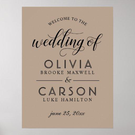 Wedding Welcome Sign | Kraft and Black