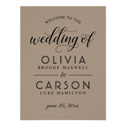 Wedding Welcome Sign | Kraft and Black