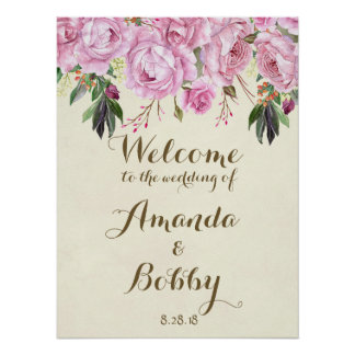 Wedding welcome sign lilac floral lavender poster