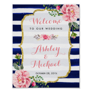 Wedding Welcome Sign Pink Floral Navy Stripes