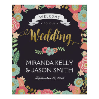 Wedding Welcome sign / Rustic wedding floral Poster