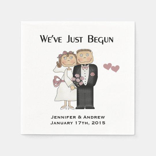 Wedding We've Just Begun Personalise Paper Napkins