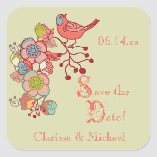 Wedding Whimsy Birds Save the Date Stickers