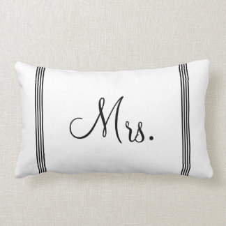 Wedding | White and Black Mrs. Lumbar Cushion
