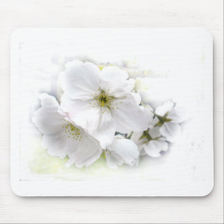 Wedding White Blossom Mouse Pad