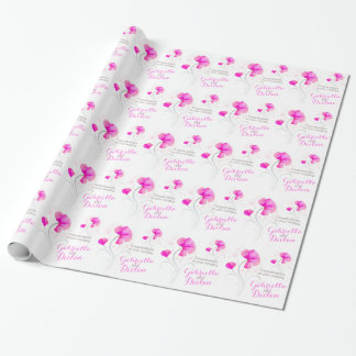 Wedding wildflower pink grey art wrap wrapping paper
