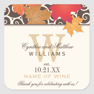 Wedding Wine Bottle Favor Labels | Fall Theme Square Sticker
