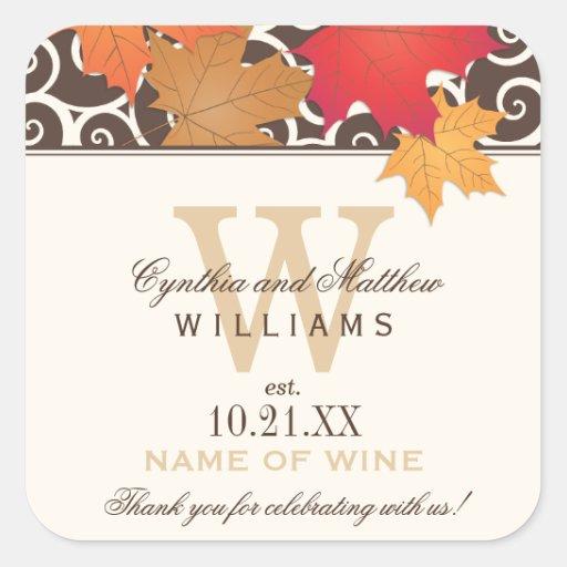 Wedding Wine Bottle Favor Labels | Fall Theme Square Sticker