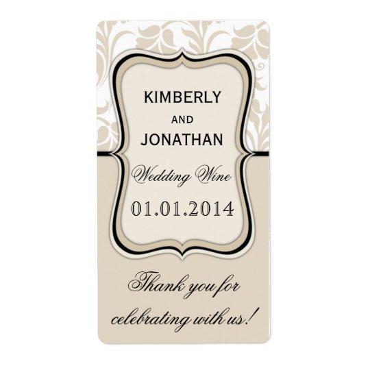 Wedding wine bottle label Elegant beige and black