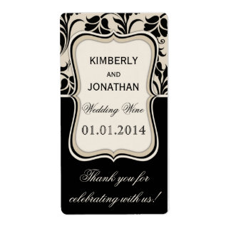 Wedding wine bottle label Elegant beige and black Shipping Label