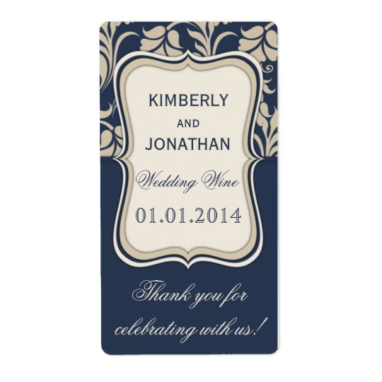 Wedding wine bottle label Elegant blue and brown
