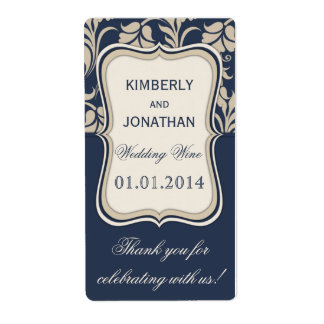 Wedding wine bottle label Elegant blue and brown Shipping Label