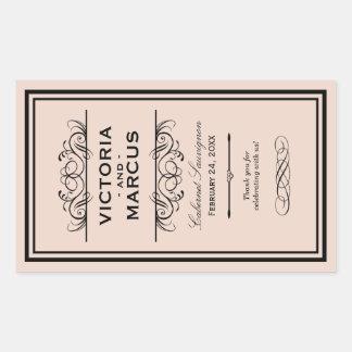 Wedding Wine Bottle Monogram Favour Labels Rectangular Sticker
