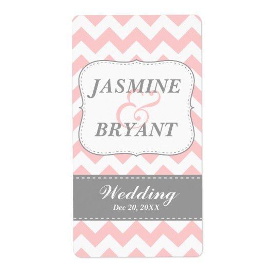 Wedding Wine Bottle Pink Chevron Pattern Favour Shipping Label