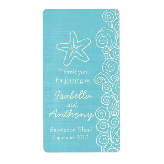 Wedding wine favours personalised label sea blue shipping label