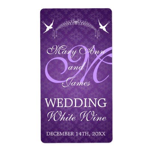 Wedding Wine Label Birds Monogram Purple