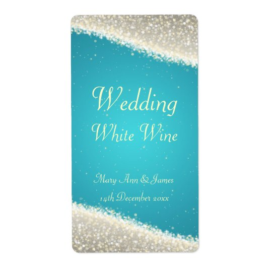 Wedding Wine Label Dazzling Sparkles Turquoise