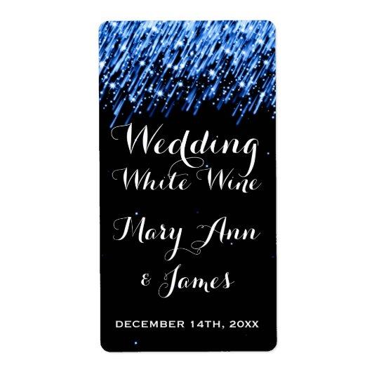 "Wedding Wine Label Falling Stars ""Sapphire Blue"""