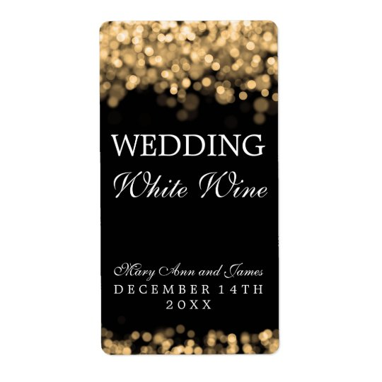 Wedding Wine Label Gold Lights Shipping Label