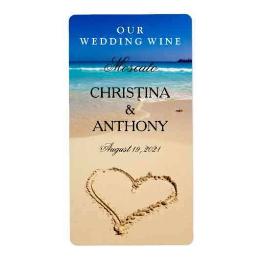 Wedding Wine Label Heart on the Shore Beach Shipping Label