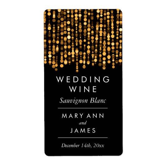 Wedding Wine Label Modern Gold Lights Shipping Label