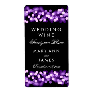 Wedding Wine Label Purple Hollywood Glam Shipping Label