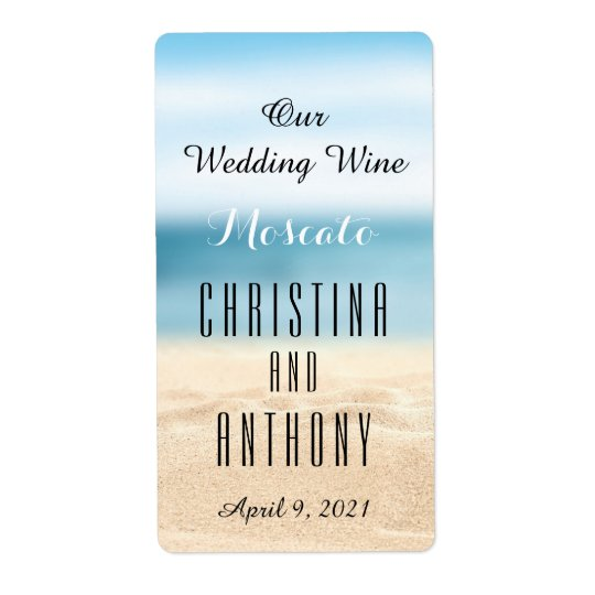 Wedding Wine Label Sandy Shore Beach Shipping Label