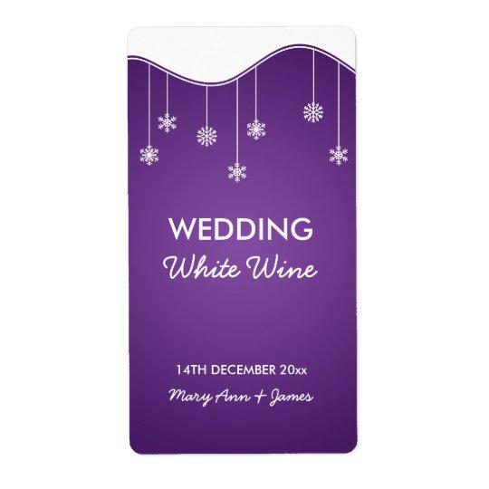 Wedding Wine Label Snowflake Decoration Purple