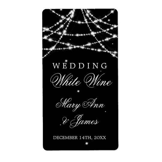 Wedding Wine Label Sparkling String Black Shipping Label