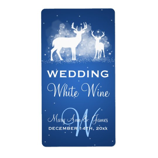 Wedding Wine Label Winter Deer Sparkle Blue