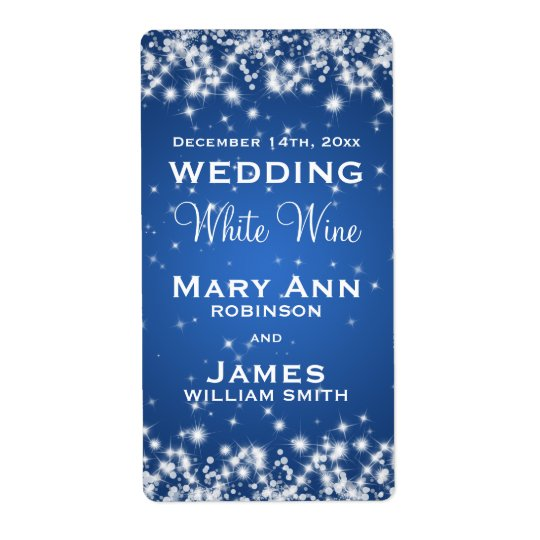 Wedding Wine Label Winter Sparkle Blue