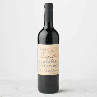 Wedding wine label with modern heart design.