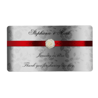 Wedding Wine Label with Red Ribbon on Silver Shipping Label