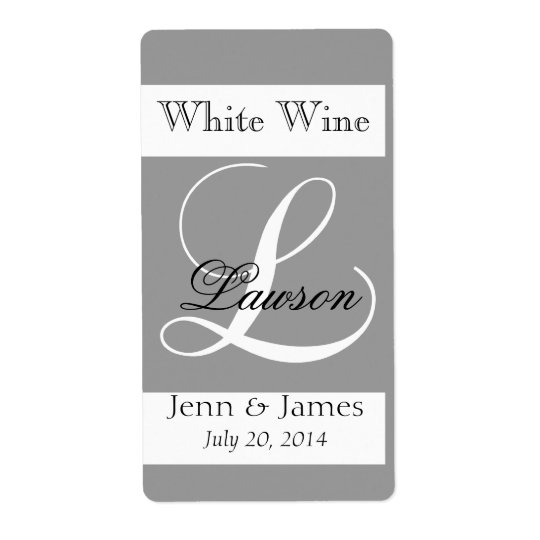 Wedding Wine Labels Silver Grey Monogram L