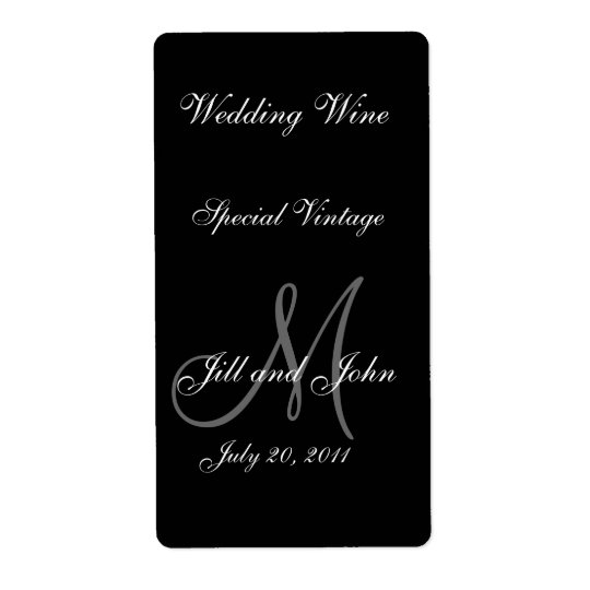 Wedding Wine Labels with Monogram, Names and Date