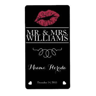 wedding wine table wine bottle label lips glitter shipping label