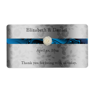 Wedding Wine/Water Bottle Label with Blue Ribbon Shipping Label