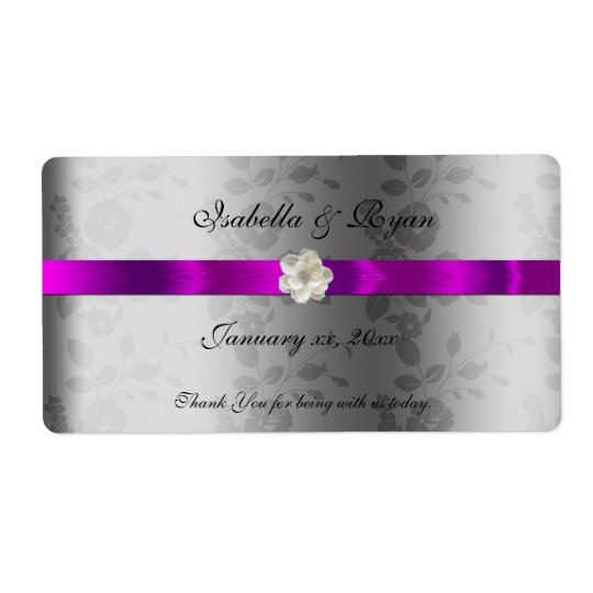 Wedding Wine/ Water Label  Purple Ribbon &  Flower