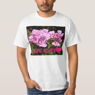 Wedding wishes, heart and flowers t shirt