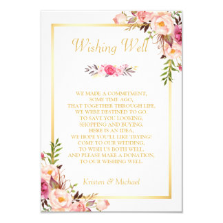 Wedding Wishing Well Gold Elegant Chic Floral Card