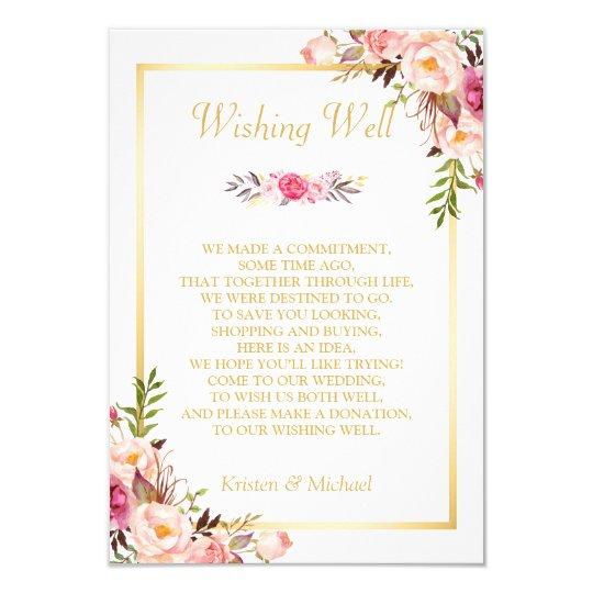 Wedding Wishing Well Gold Elegant Chic Floral Card