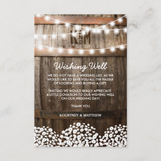 Wedding Wishing Well Rustic Country Baby's Breath Enclosure Card
